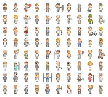8 bit: La gente del pixel. 8 bit establecido para juegos y dise�o Vectores