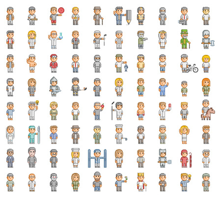 Pixel people. 8 bit set for games and design Imagens - 40700700