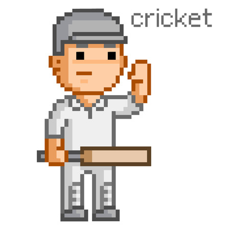 bit: Pixel cricket player for games and design 8 bit Illustration