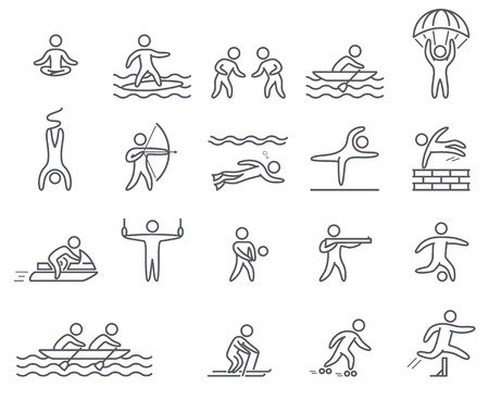 Outline figure athletes. Icons popular sports. Linear vector set. Yoga, surfing, skydiving, rope jumping, archery, volleyball, shooting, diving, parkour, jetski and other Illustration