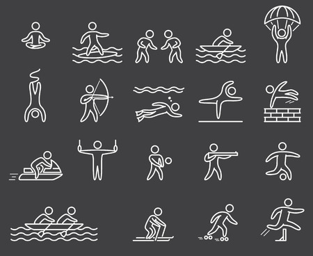 jetski: Lineart figure athletes. Icons popular sports. Outline vector set. Yoga; surfing; skydiving; rope jumping; archery; volleyball; shooting; diving; parkour; jetski and other