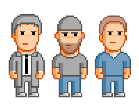 Pixel people for 8 bit video game and design