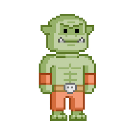 Pixel orc voor 8 bit video game en design