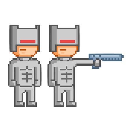 8 bit: Cyborg Pixel para videojuego de 8 bits y dise�o Vectores