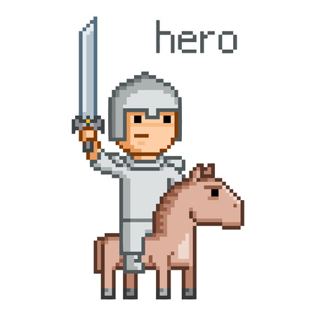 Pixel hero for 8 bit video game and design Illustration