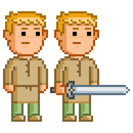 hero: Pixel elf hero with a sword for 8-bit video games