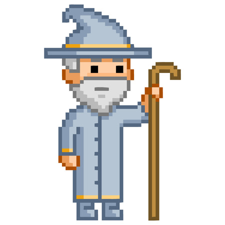 abracadabra: Pixel wizard for games. Magician vector