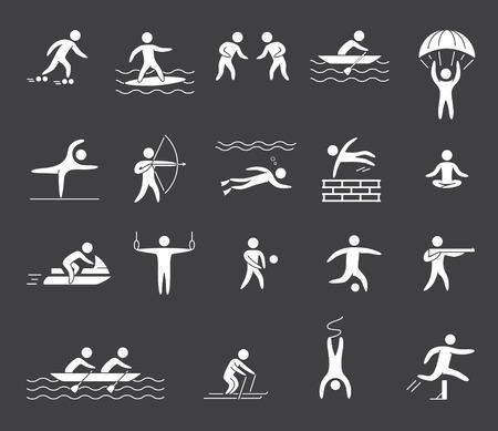 bungee jumping: Figuras de la silueta de los atletas de deportes populares. Yoga, surf, rafting, paracaidismo, tiro con arco, atletismo, voleibol, el fútbol y el parkour