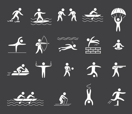 parkour: Silhouette figures of athletes popular sports. Yoga, surfing, rafting, skydiving, archery, athletics, volleyball, soccer and parkour Illustration