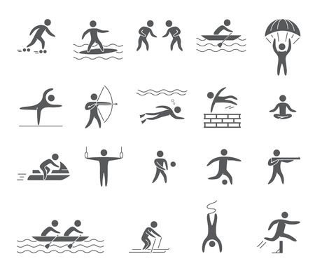 athletes: Silhouettes figures of athletes popular sports Illustration