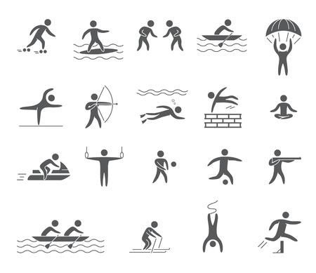bungee jumping: Siluetas figuras de atletas deportes populares