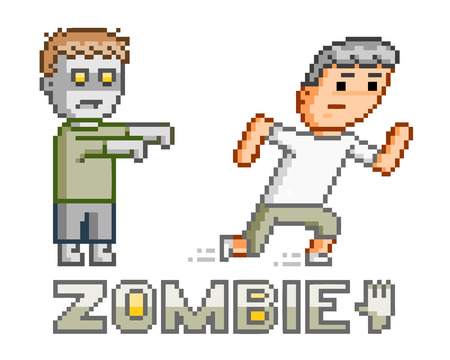 8 bit: Pixel art zombie for 8 bit game and design Illustration
