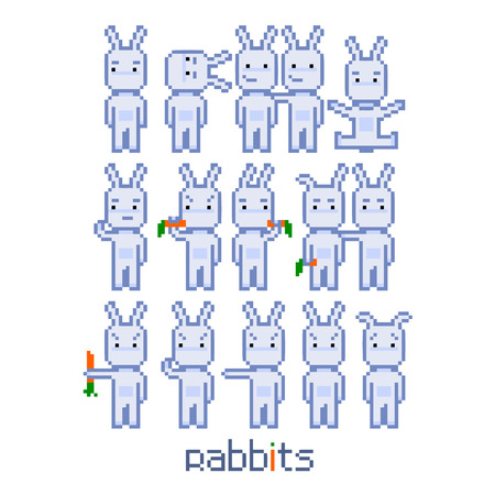 8 bit: Pixel set rabbits for 8 bit video game and design Illustration