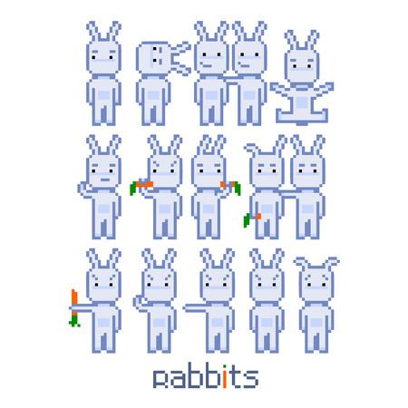 Pixel set rabbits for 8 bit video game and design Illustration