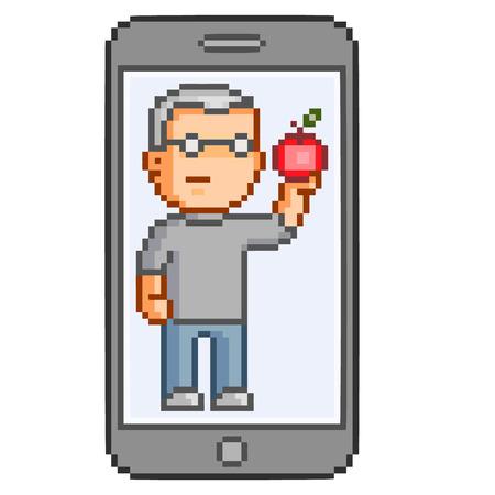 apple computers: Vector pixel art smart phones for design