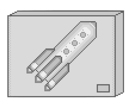 pixel art: Vector pixel art box and rocket for game and design