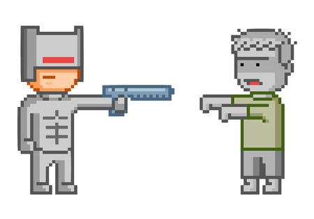 cyborg: Vector pixel cyborg y zombie para el juego y el dise�o