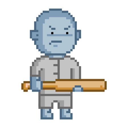 8 bit: Pixel blue goblin for 8 bit video game and design Illustration
