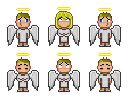 bit: Pixel angels for video game and design 8 bit Illustration