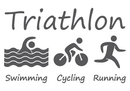 Silhouettes figures triathlon athletes. Swimming, cycling and running vector symbols.