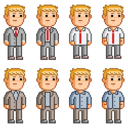 pixelart: Pixel art office workers. Set staff for business