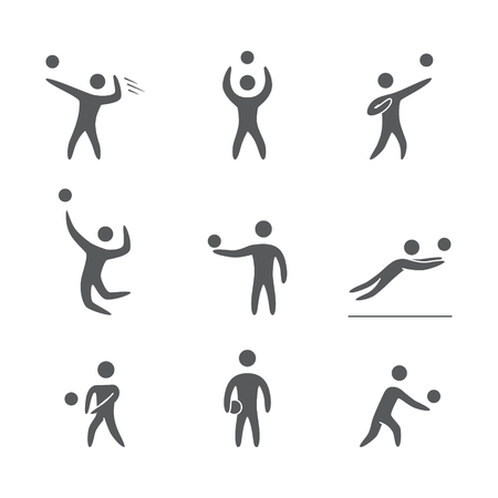 Silhouettes of figures volleyball players icons set. Volleyball vector symbols Vector Illustration