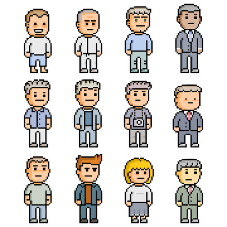 pixelart: Pixel set of funny people for games and design Illustration