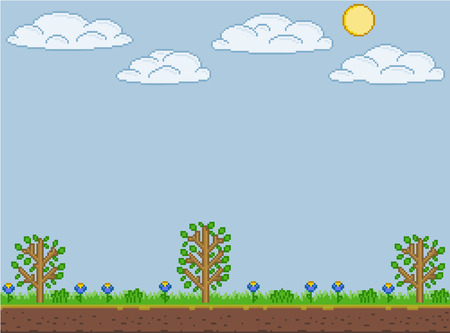 Vector pixel art summer sunny day for games and design