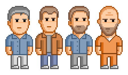 8 bit: Pixel people for 8 bit video game and design