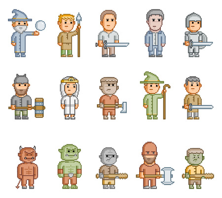 Pixel fantasy heroes for 8 bit video game and design