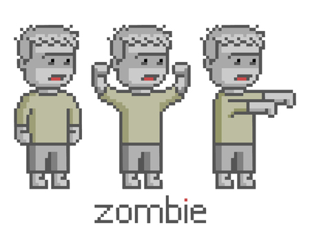 guy standing: Pixel art set zombie for game and design Illustration