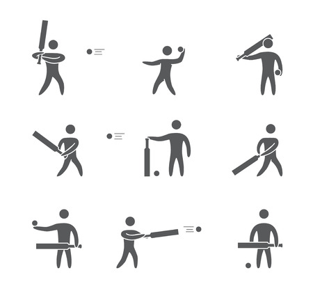 padding: Silhouettes of figures cricket player icons set. Cricket vector symbols