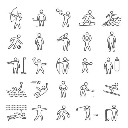 blacks: Outline figures of athletes popular sports. Line art sport icon set. Vector symbols.