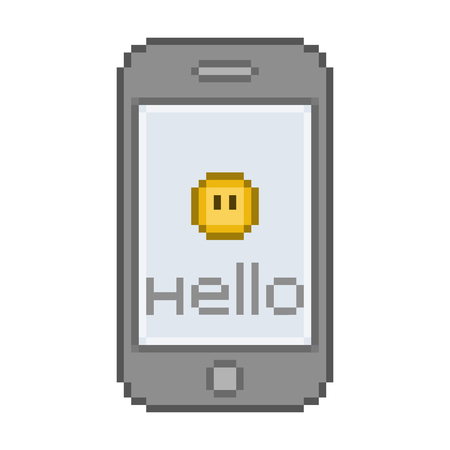 vibrate: Pixel art smartphone, funny hello message with a smile Illustration