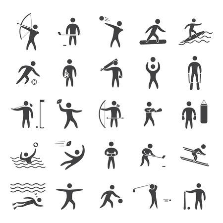 icono deportes: Siluetas figuras de atletas de deportes populares. Negro forma de icono de vector conjunto