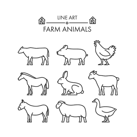 geese: Outline figures of farm animals. Vector figures icon set. Vector cow, pig, chicken, horse, rabbit, goat, donkey, sheep and geese