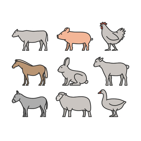 geese: Painted outline figures of farm animals. Vector figures icon set. Vector cow, pig, chicken, horse, rabbit, goat, donkey, sheep and geese