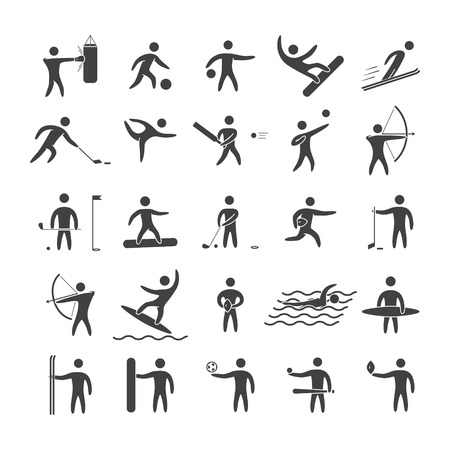 blacks: Silhouettes figures of athletes popular sports. Black shape vector icon set