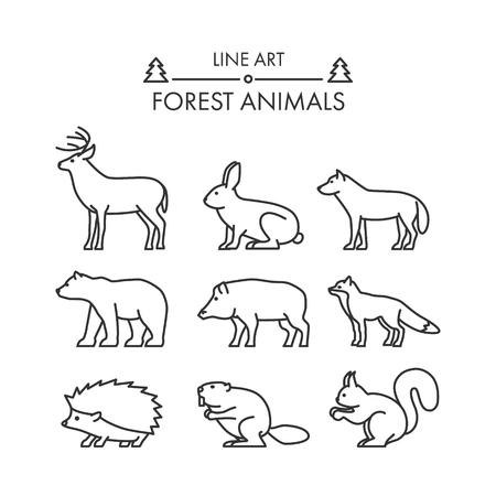 beaver: Outline figures of forest animals. Vector figures icon set. Vector deer, rabbit, wolf, bear, boar, fox, squirrel, beaver and hedgehog