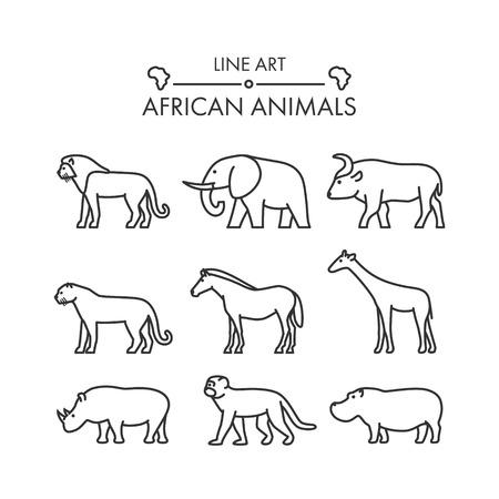Outline figures of african animals. Vector figures icon set. Vector lion, cheetah, leopard, elephant, buffalo, giraffe, zebra, rhino, monkey and hippo Illustration