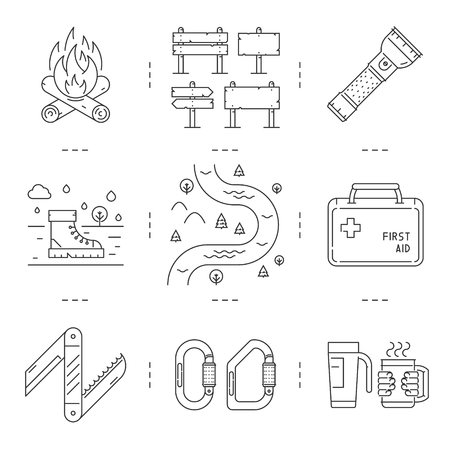 pocket flashlight: Line icons set of hiking, camping and tourism. Vector linear fire, sign, flashlight, boots, river, first aid kit, pocket knife, carabiner, mug and thermocup