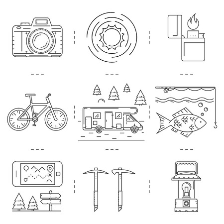 pickaxe: Linear icons of hiking and camping. Line camera, sun, lighter, biking, fishing, fish, ice-ax, pickaxe, lights, phone, map, direction, motorhome and camper. Vector set.