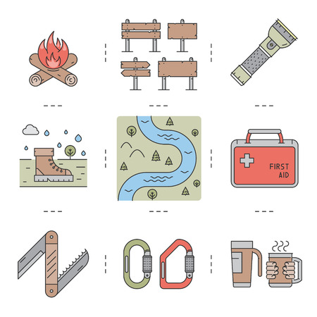 pocket flashlight: Line icons set of hiking, camping and tourism. Vector linear fire, sign, flashlight, boots, river, first aid kit, pocket knife, carabiner, mug and thermocup. For web and site.