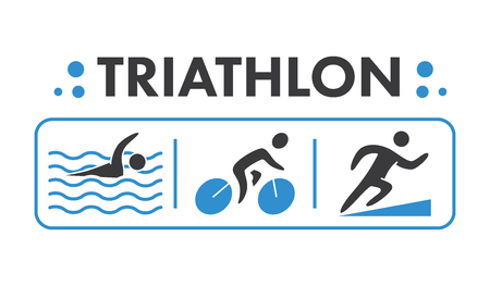 Silhouettes of figures triathlon athletes.
