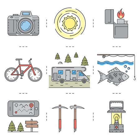 camping site: Line icons set of hiking, camping and tourism. Vector linear camera, sun, lighter, biking, fishing, fish, ice-ax, pickaxe, lights, phone, map, direction, motorhome and camper. For web and site.