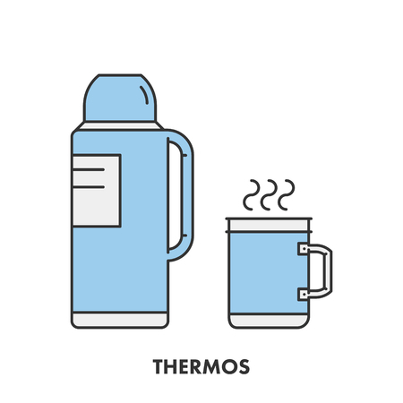 thermo: Line icons trees in color.