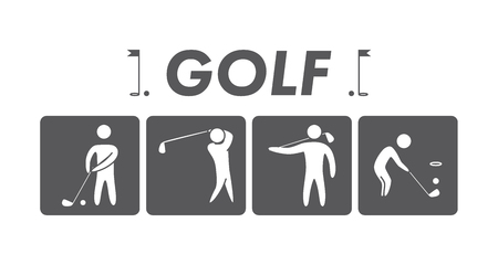 putter: Silhouettes of figures golfers.
