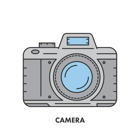 creation of sites: Line icon camera in color.