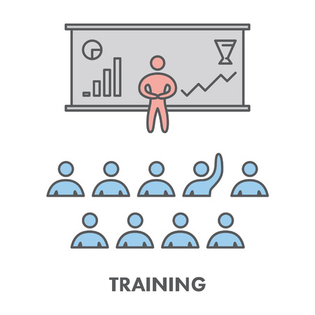 business education: Line icon training, presentation and seminar.