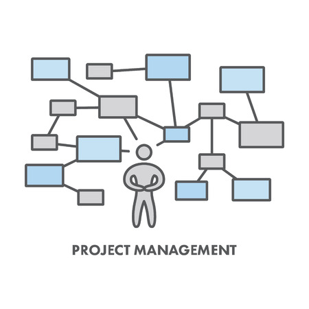 project management: Line icon project management.  Illustration
